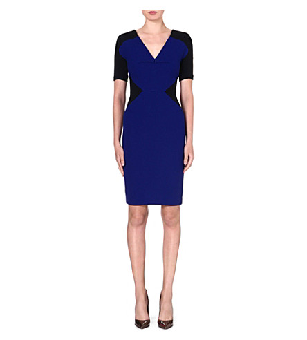 ROLAND MOURET Nabis wool dress (Royal blue/black