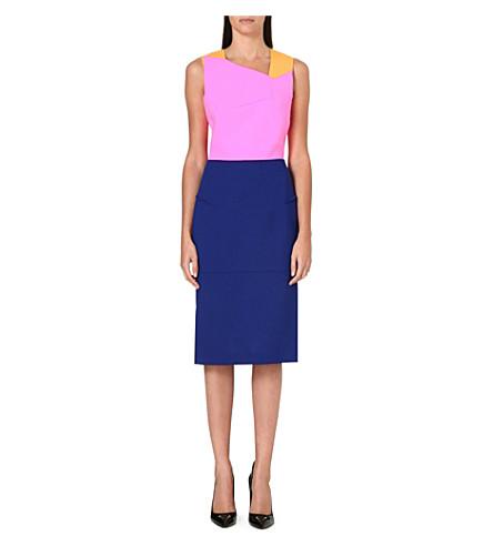 ROLAND MOURET Edulis colour-block wool dress (Marigold/fluro pink