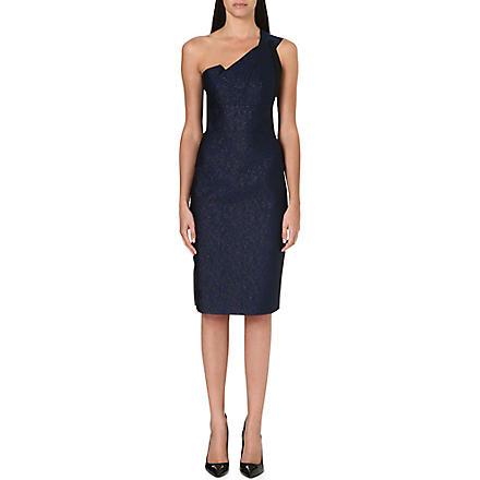 ROLAND MOURET Aglais one-shoulder dress (Royal blue/black