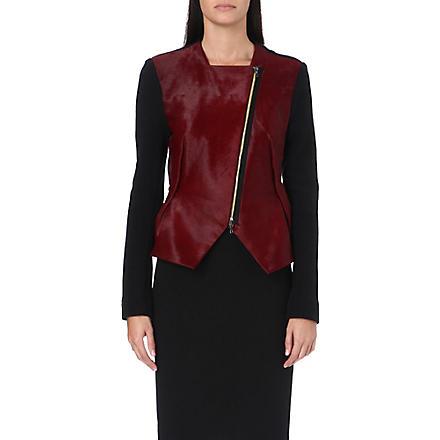 ROLAND MOURET Contrast leather jacket (Oxblood/black