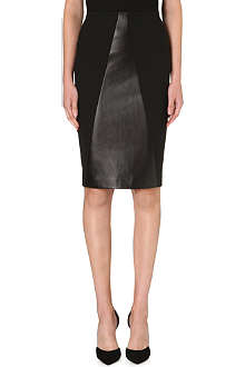 ROLAND MOURET Leather-panelled pencil skirt
