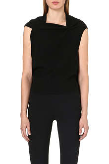 ROLAND MOURET Eugene draped-neck wool top