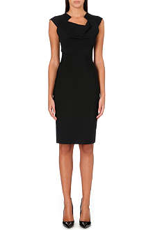ROLAND MOURET Velia geometric-neckline dress