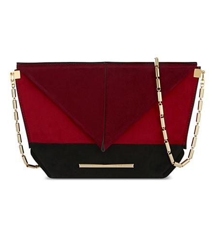 ROLAND MOURET Classico origami suede cross-body bag (Black/poppy/red/burgundy