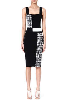 ROLAND MOURET Birdseye mesh knitted jacquard dress