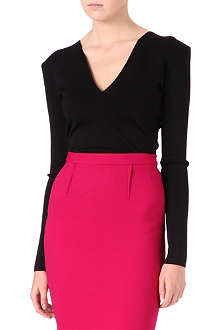 ROLAND MOURET Long-sleeved deep V-neck top