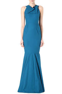 ROLAND MOURET Folded-neckline fishtail gown