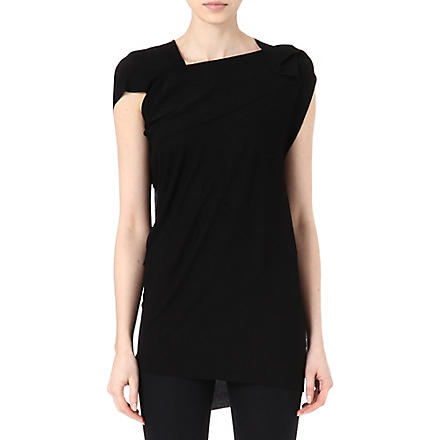 ROLAND MOURET Asymmetric crepe top (Black