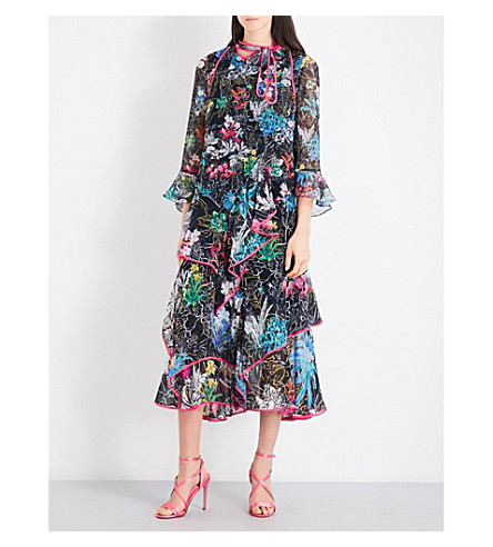 PETER PILOTTO Floral-print silk-georgette midi dress (Black