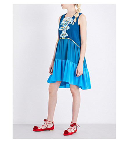 PETER PILOTTO Embroidered silk dress (Blue