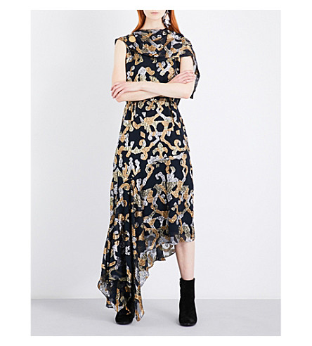 PETER PILOTTO Asymmetric metallic-patterned silk-blend gown (Black