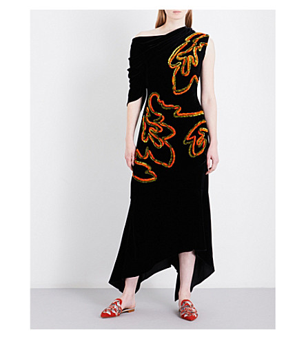 PETER PILOTTO Asymmetric off-the-shoulder embroidered velvet dress (Black