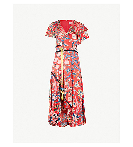 PETER PILOTTO Floral-print asymmetric silk-blend midi dress (Red