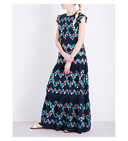 PETER PILOTTO Embroidered fil-coupé gown (Navy