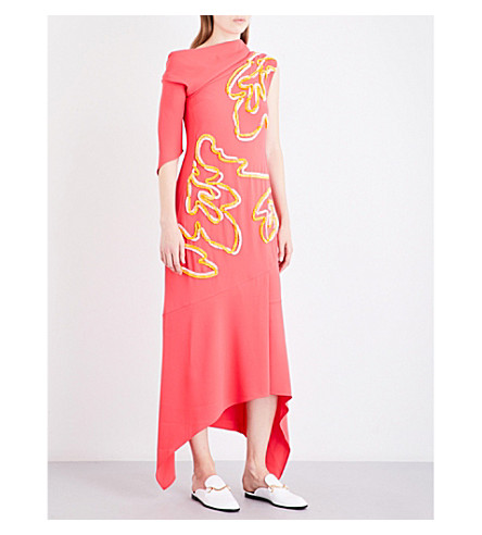 PETER PILOTTO Asymmetric off-the-shoulder embroidered cady dress (Coral