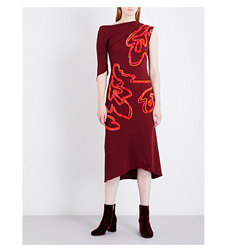 PETER PILOTTO Asymmetric off-the-shoulder embroidered crepe midi dress (Burgundy