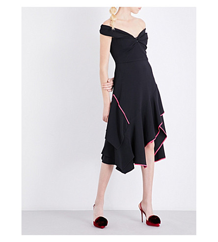 PETER PILOTTO Off-the-shoulder crepe dress (Black