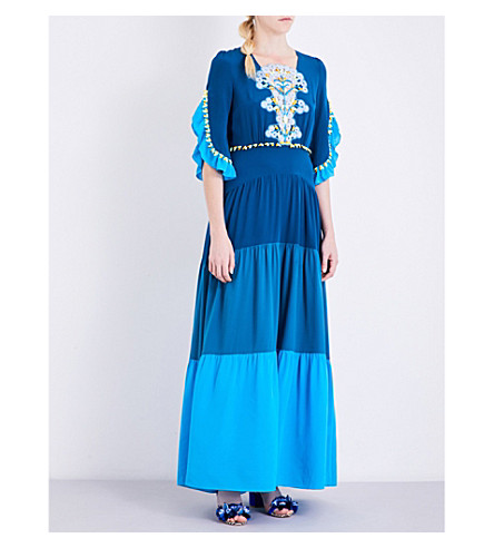 PETER PILOTTO Lace-detailed silk-crepe de chine gown (Blue