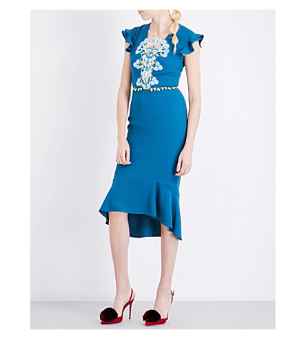 PETER PILOTTO Lace-overlay crepe dress (Teal