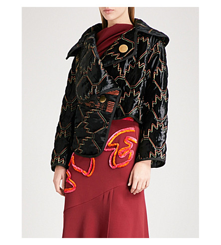 PETER PILOTTO Tribal-patterned quilted velvet coat (Black