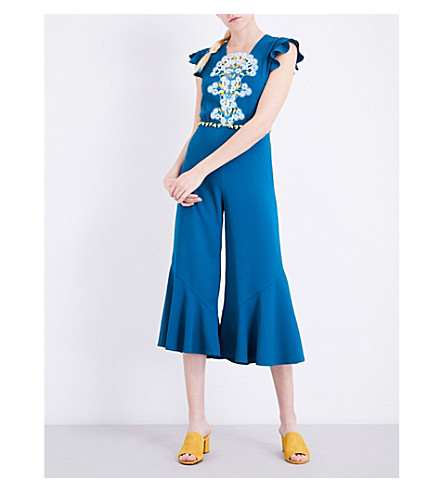 PETER PILOTTO Lace-detailed cady jumpsuit (Teal