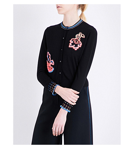 PETER PILOTTO Embroidered wool knitted cardigan (Black