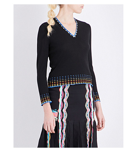 PETER PILOTTO Patterned knitted wool jumper (Black