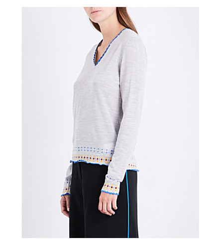PETER PILOTTO Patterned knitted wool jumper (Grey