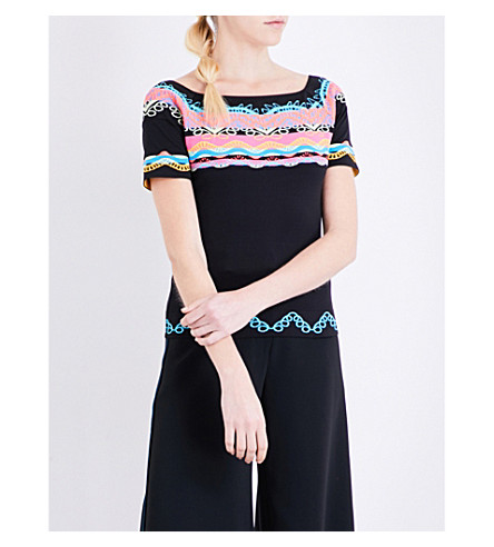 PETER PILOTTO Aztec-embroidered cady top (Multi