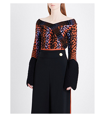PETER PILOTTO Off-the-shoulder geometric-pattern wool-blend top (Navy