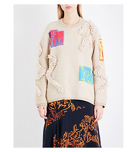 PETER PILOTTO Contrast-patch and bouclé-knit jumper (Cream