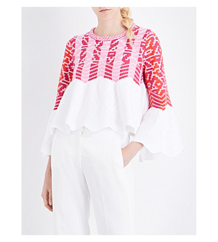 PETER PILOTTO Geometric jacquard-knitted top (Pink