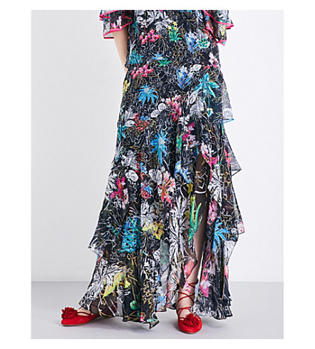 PETER PILOTTO Floral-print silk-georgette maxi skirt (Black