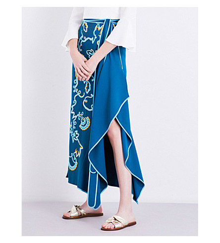 PETER PILOTTO Embroidered crepe skirt (Teal