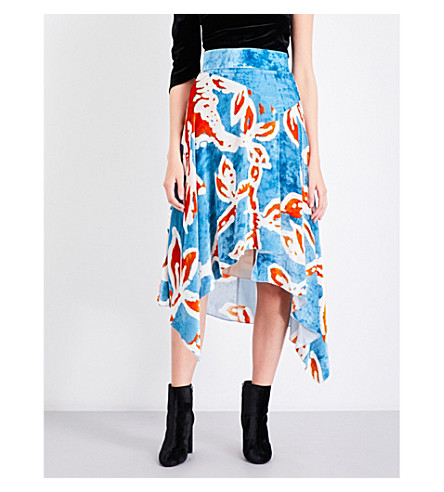 PETER PILOTTO Floral-print velvet skirt (Blue