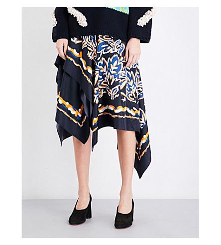 PETER PILOTTO Handkerchief-hem silk-twill skirt (Navy