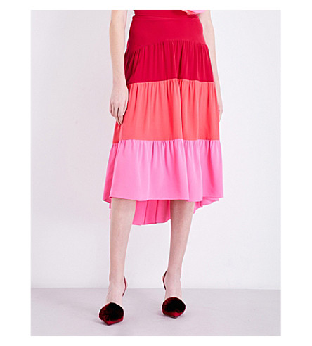 PETER PILOTTO Tiered silk skirt (Pink