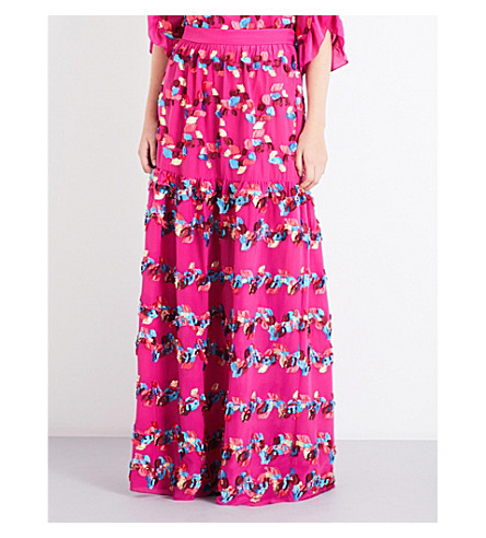 PETER PILOTTO Floral-pattern high-rise fil-coupé skirt (Fuschia