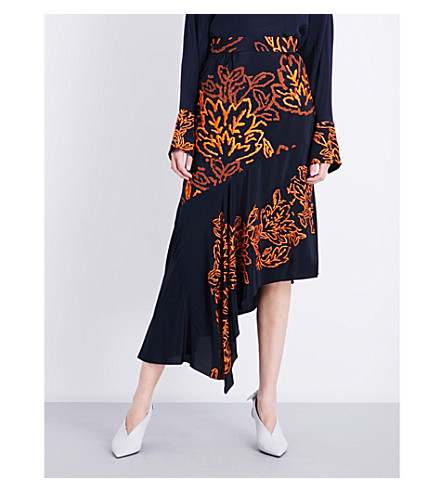 PETER PILOTTO Asymmetric embroidered silk skirt (Navy