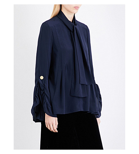 PETER PILOTTO Tie-neck silk-gerogette blouse (Navy