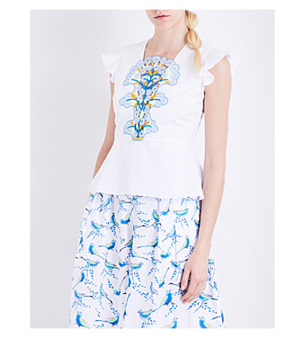 PETER PILOTTO Lace-detailed cotton top (White