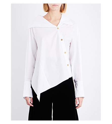 PETER PILOTTO Asymmetric-hem cotton top (White