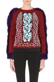 PETER PILOTTO Ace faux fur-trim embellished sweatshirt