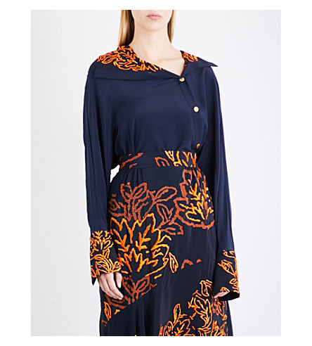 PETER PILOTTO Embroidered-detail asymmetric silk-gerogette shrit (Navy