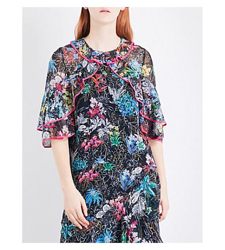 PETER PILOTTO Floral-print silk-georgette blouse (Black