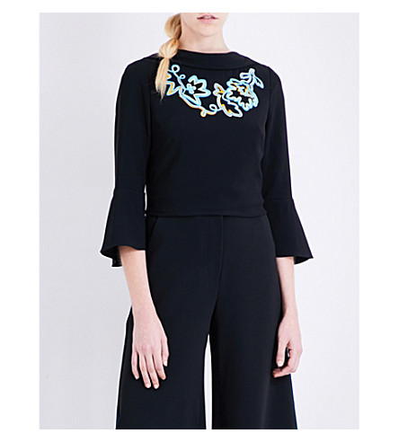 PETER PILOTTO Embroidered crepe top (Black