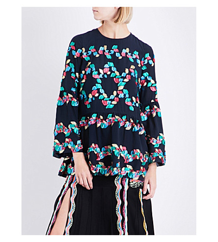 PETER PILOTTO Embroidered silk-blend tunic (Navy