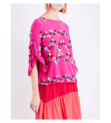 PETER PILOTTO Embroidered silk-blend top (Fuschia
