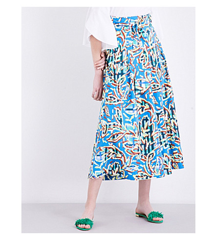 PETER PILOTTO Abstract-print cotton culottes (Green+leaf+check