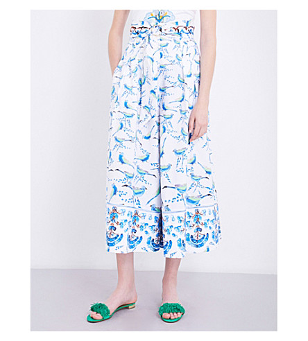 PETER PILOTTO Bird-print wide-leg stretch-cotton pants (Bird+white